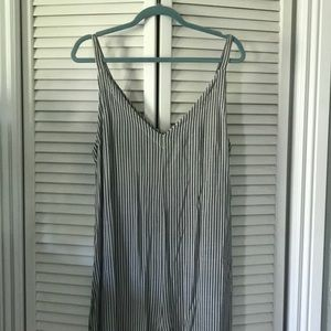 Pinstriped v neck jumpsuit